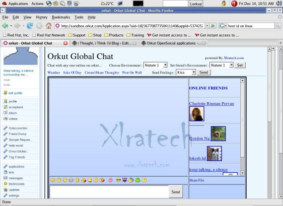 Global Chat on orkut with OpenSocial