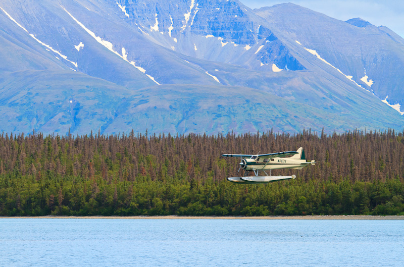 Float Plane landing at Brooks Falls alaska
